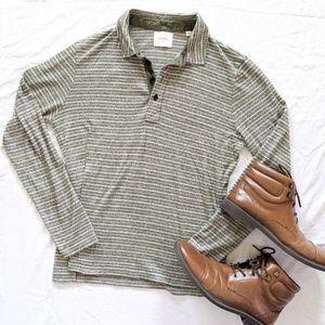 Billy Reid Collared Green and white striped Shirt
